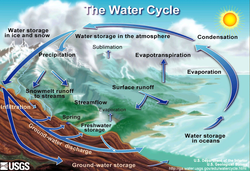 Cycle a detailed image of the water cycle showing the many ways in